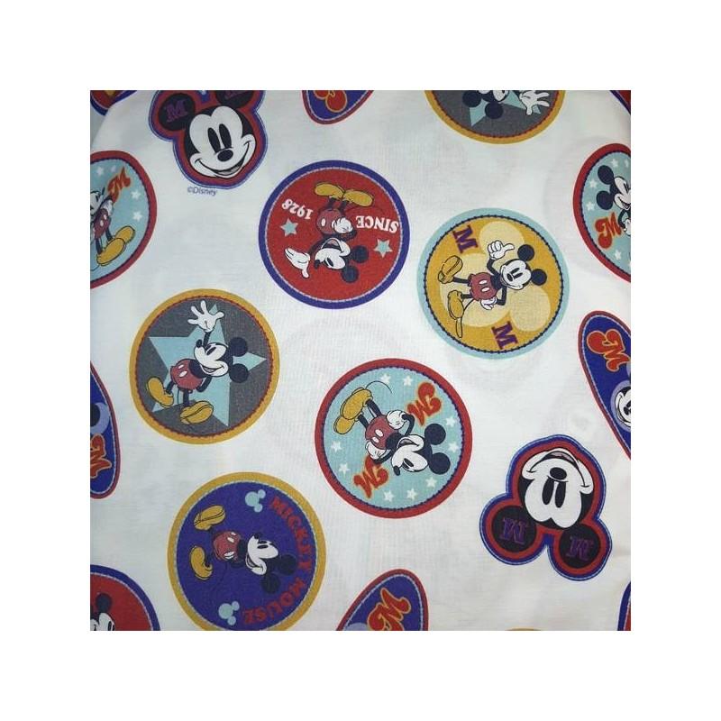 Tela algodón 100x100 para patchwork, mascarillas y gorros sanitarios Mickey Chapas