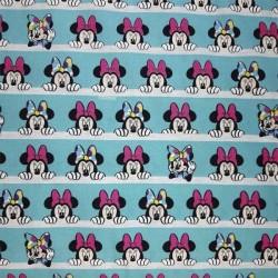 Tela algodón 100x100 para patchwork, mascarillas y gorros sanitarios Minnie Turquesa