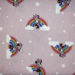 Tela algodón 100x100 para patchwork, mascarillas y gorros sanitarios Minnie Arcoiris